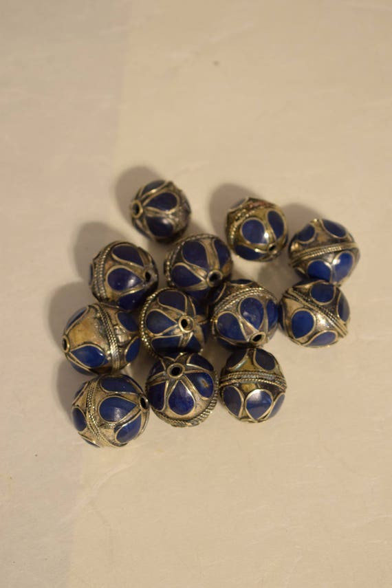 Beads Middle Eastern Blue Lapis Brass Oval Beads Handmade Handcrafted 4 Lot Lapis Beads Brass Crafts Jewelry Beads