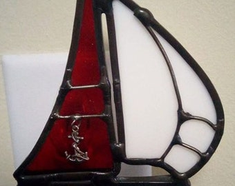Stained glass sailboat night light