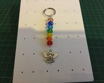 Angel Charm Chakra Keyring Gemstone Crystal Healing in Gift Bag - Handmade Uk Seller