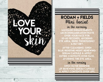 Rodan + Fields Mini Facial Card | INSTANT DOWNLOAD | Love Your Skin & Give it a Glow | Black and White