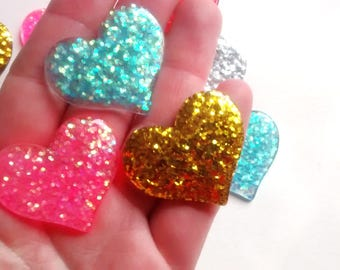 5 pieces - Large glitter heart cabochons - sparkly - kawaii decoden kit - craft supplies - glamour - card making - scrapbooking - jewellery