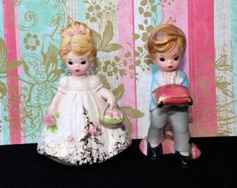 """On Sale!! Vintage JOSEF ORIGINALS """"Flower Girl & Ring Bearer""""  Cake Toppers"""