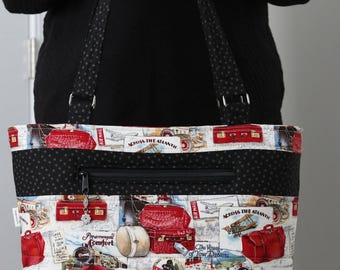 Morgan Travel Tote - overnight work school baby, outside/inside pockets, zipper top, quilted, padded, sturdy; travel theme, vintage look