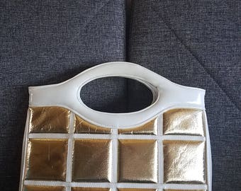 Large Mod Purse Geometric Square Gold Lame White Patent Leather Handbag Top Handle Tote Bag 14 x 11