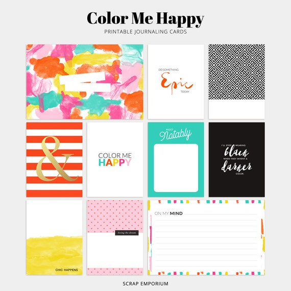 Journal cards project life cards journaling cards pocket for Happy planner accessories