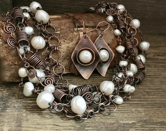 Rustic pearl necklace, earrings set, handmade multi strand copper necklace