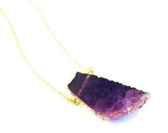 Raw Stone Necklace, Druzy Necklace, Purple Necklace, Agate Slice Necklace, Boho Long Necklace, Semi Precious Stone Jewellery, Druzy Jewelry