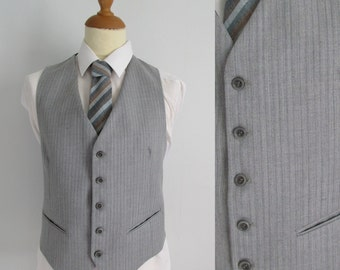 Mens grey pinstripe waistcoat vest, striped ligh grey wool, french vintage, traditional classic formal, large