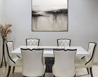 Abstract Black And White Wall Art Painting Large Canvas Art White Abstract Painting, Contemporary Black And White Modern Art, Christovart