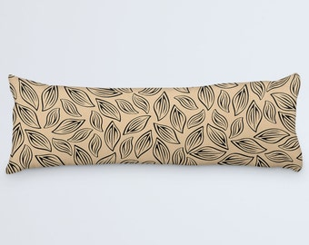 Body Pillow Cover, Leaves Body Pillow, Black Brown Pillow, Leaf Patterned Pillow, Large Cushion, Beige Large Pillow Case, 20x54 Body Pillow