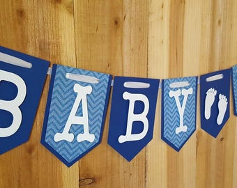 Blue Chevron Baby Boy Banner, Welcome Baby Banner, It's A Boy Banner