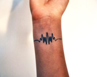 Wavelength Temporary Tattoo, Frequency Tattoo, Music Temporary Tattoo, Music Gift Idea, Arctic Monkeys Tattoo, Indie Tattoo, Hipster Tattoo