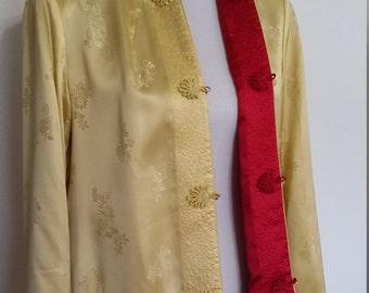 Chinese jacket, M, L, reversible jacket, red jacket, gold jacket, silk jacket, formal jacket, silk blazer, formal blazer, Asian jacket