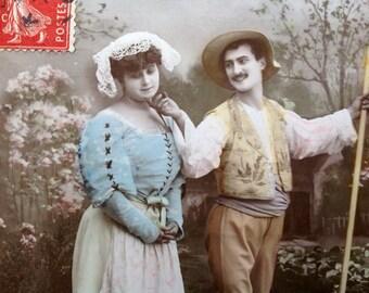 Sweet romance postcard // Original antique RPPC unique postcard // Vintage tinted photo postcard // Striped socks, milk maid