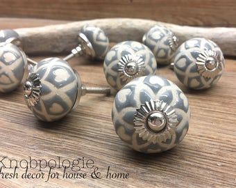 SET OF 8 - Grey Ceramic Knob with Natural Cream Etched Hearts - Blue Grey Light Grey Drawer Pull Decorative Flower Knob - Cabinet