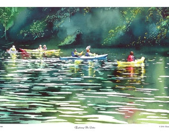 "Giclee, Adirondack, Watercolor, Saratoga Springs, Finger Lakes, 12"" x 18"" by Cheryl Chalmers"