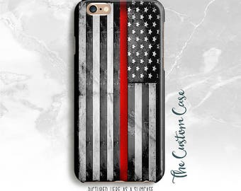 Thin Red Line Phone Case, US Flag Red Line Case, Firefighter, Iphone Iphone X Case, Iphone 8, Galaxy S5/S6/S6 Edge, Note 4/5, S8/ S8 PLUS