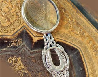 Victorian Magnifying Glass Pendant - Silver Plated Brass - 4""
