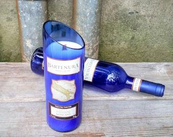 Cobalt Blue Wine Decor Soy Candle, Upcycled Bartenura Moscato Bottle.