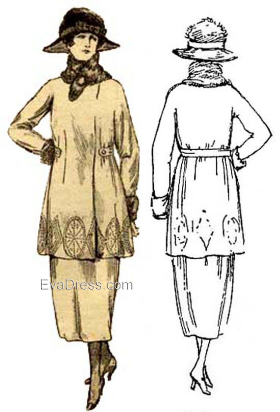 Edwardian Sewing Patterns- Dresses, Skirts, Blouses, Costumes 1920 Simple Jacket Pattern by EvaDress $15.00 AT vintagedancer.com