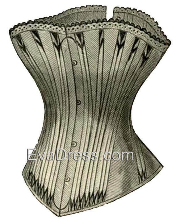 Victorian Corsets – Old Fashioned Corsets & Patterns 1886 Corset Pattern by EvaDress $8.00 AT vintagedancer.com