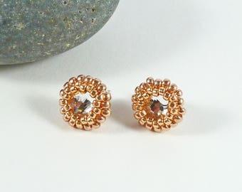 Crystal Stud Earrings, Rose Gold, Sterling Silver, Prom Jewelry, Wedding, Bridal, Swarovski Crystal, Bridesmaid Gift, Sparkly, Bead Earrings