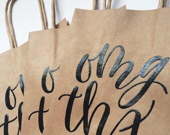 OMG THX | 5.25x8.5 Kraft Bag | Handlettered Black Embossing | Set of 3