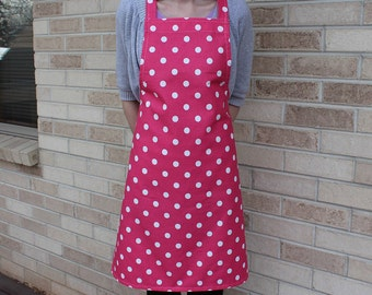 Candy Pink and White Polka Dot Apron