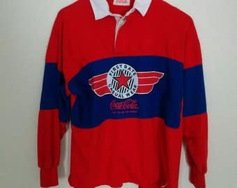 Vintage 80s Coca Cola Rugby Shirt, 1980s Throwback Coke Polo Shirt,  Adult Size Medium to Large