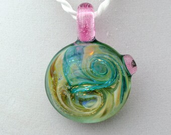 "Wispy Blue and Earth tones Dichroic Glass Pendant with Pink bail by ""One Hand"" Jeramy"