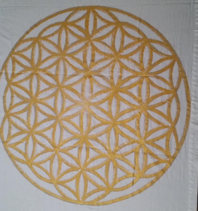 Sacred Geometry Ceremony Cloth, Floor canvas, Flower of Life, 10ft x 10ft canvas, custom painted