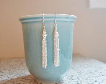 Sterling Silver Tassel Earrings, 925 Silver, Nickel Free