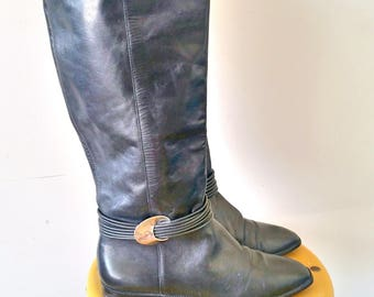 Vintage Unisa Black Riding Style Boots Size 8.5 Made in Brazil