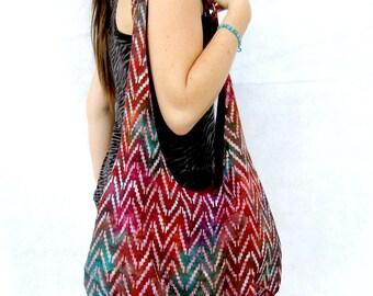 Hobo Bag Purse, Burgundy Batik Fabric Tote Bag,  Over The Shoulder Slouch Bag.