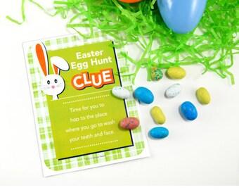 Easter Egg Hunt Scavenger Clue Cards - Easter Scavenger Hunt - (11 CLUES) + 41 Free Fortunes - Instant download. Print ready digital files.