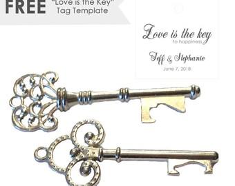 SALE 25 Key Wedding Favors- Key Bottle Opener- Vintage Key Bottle Opener- Wedding Bottle Opener- Rustic Wedding Favors- Steampunk Key