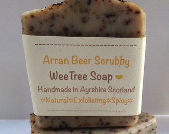 Arran Beer Scrubby Scottish Natural Handmade Exfoliating Soap Bar