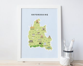 Map of Oxfordshire - Illustrated map of Oxfordshire Print / Travel Gifts / Gifts for Travellers / United Kingdom / Great Britain