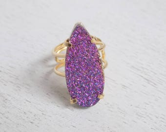 Druzy Ring, Purple Blue Druzy Ring, Crystal Ring, Large Gemstone Ring, Gold Ring, Boho Ring, Adjustable Statement Ring, Gift For Mom, G4-16