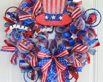 4th of July Front door Wreath Americana Uncle Sam Wreath Patriotic Door Hanger Red White blue July 4th Fourth of July decorations