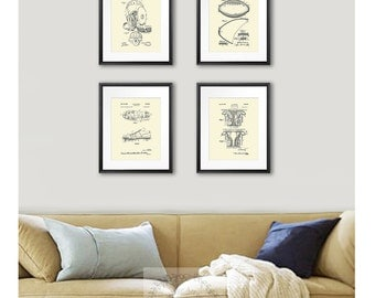 Football Wall Decor, set of 4 unframed cream colored wall art patent prints, boys room decor, football gift, super bowl party decor