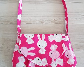 Pink bunnies Little Miss Shoulder Bag - A great grab and go purse or little girls 'just like mummy' bag