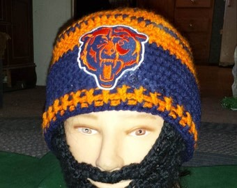 CHICAGO BEARS Bearded Beanie,Customize,Velcro Both Sides Beard&Beanie, Velcro 4 Perfect fit,Any Size Any Color,Check out All 5 Pics