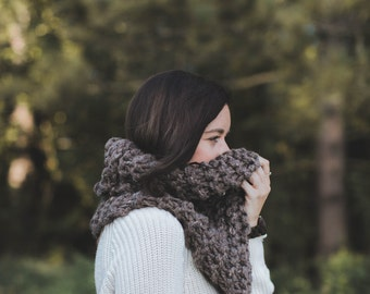 Outlander Cowl Textured Knit Chunky Winter Scarf | THE PIONEER | Barley