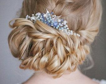 Bridal Hair Comb, blue comb, Crystal Comb, Wedding Comb, Wedding Hair Accessory, Hair Accessories, Hair Accessories, barrette, comb