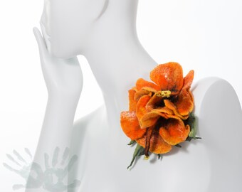 Felted Brooch / Hibiscus Brooch / Flower brooch / Orange Brooch / Woman Accessories  / Art Brooch /Felt Brooch/ Nuno/ Free shipping.