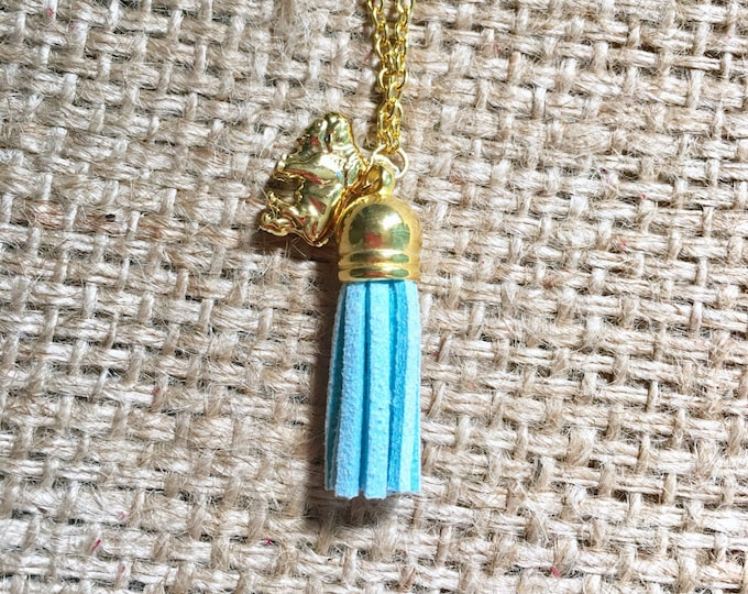 Blue EO Necklace, Diffuser Necklace, Tassel EO Jewelry, Suede EO Necklace, Oil Diffuser Jewelry, Aromatherapy Jewelry, Tassel eo Necklace