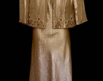A Vintage Carmel Gold Gown and Jacket       VG253