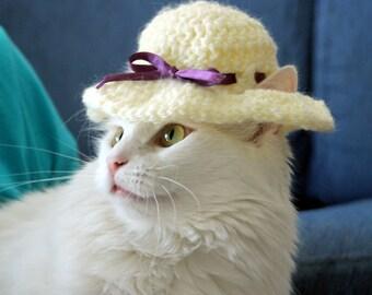 Sun Hat for Cats, Preakness Cat Hat, Derby Hat for Cats, Brim Hat for Cats, Cat Easter Bonnet, Funny Cat Accessories, Cat Photo Prop