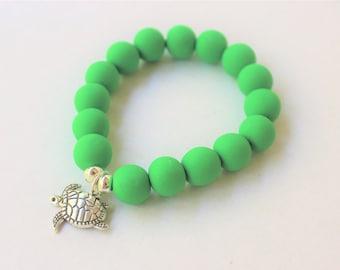 Handmade Beaded Charm Bracelet, Nautical Charms, Polymer Clay Bracelet, Boho Style, Stacking Bracelet, Stretch Bracelet